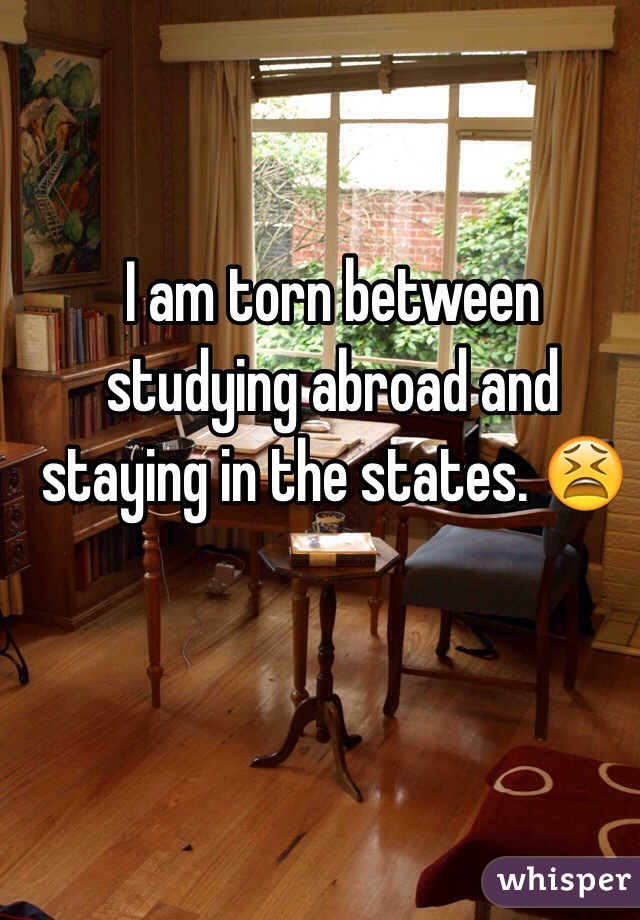 I am torn between studying abroad and staying in the states. 😫