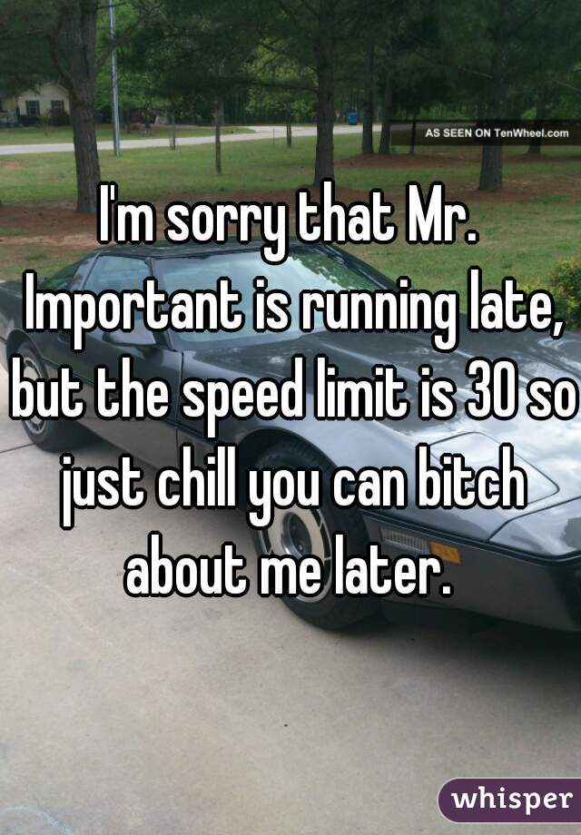 I'm sorry that Mr. Important is running late, but the speed limit is 30 so just chill you can bitch about me later.
