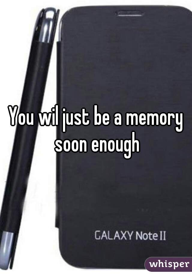 You wil just be a memory soon enough