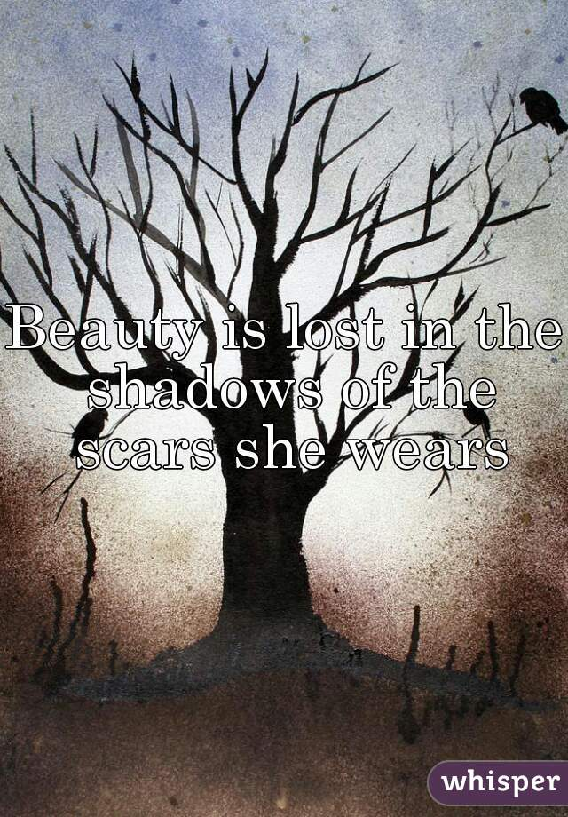 Beauty is lost in the shadows of the scars she wears