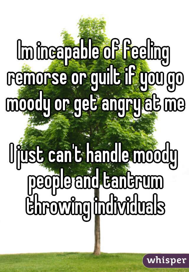 Im incapable of feeling remorse or guilt if you go moody or get angry at me  I just can't handle moody people and tantrum throwing individuals