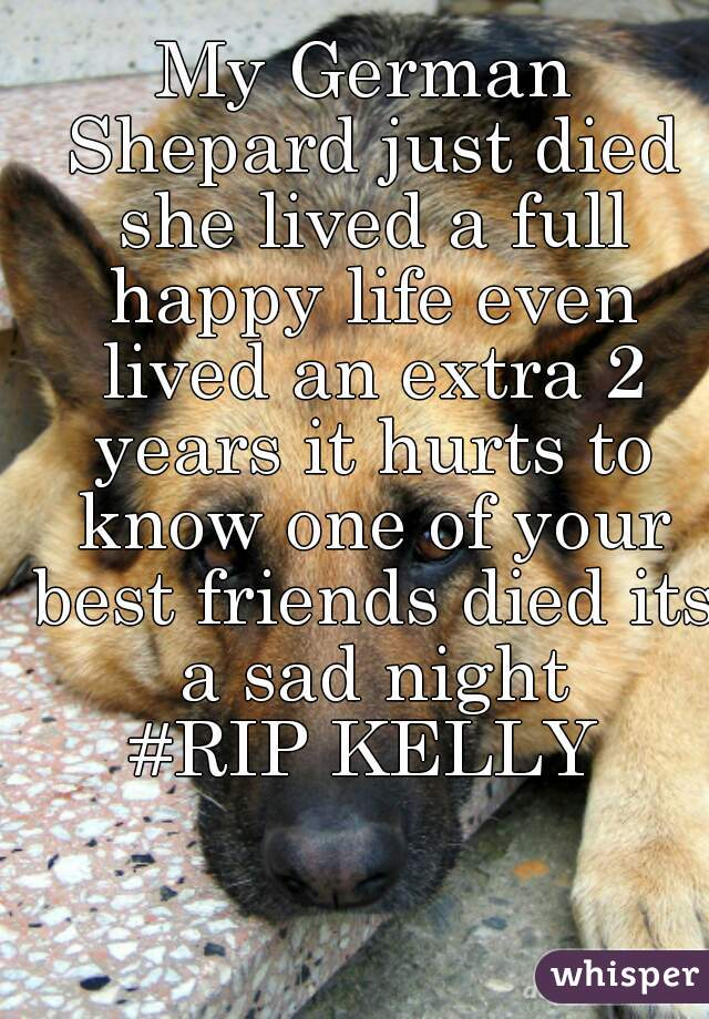 My German Shepard just died she lived a full happy life even lived an extra 2 years it hurts to know one of your best friends died its a sad night #RIP KELLY