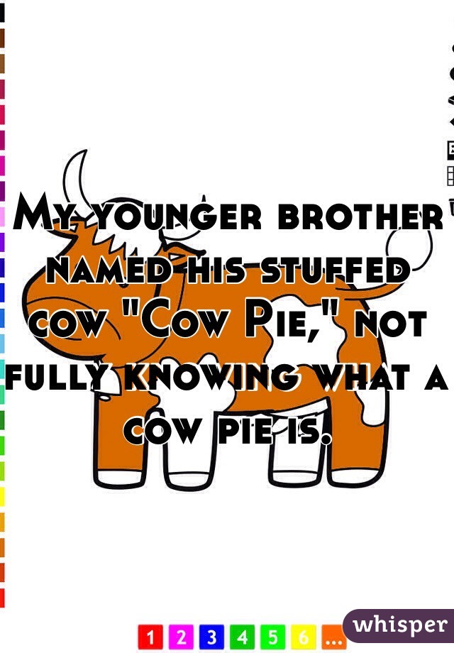 """My younger brother named his stuffed cow """"Cow Pie,"""" not fully knowing what a cow pie is."""