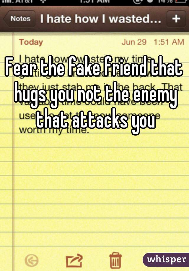 Fear the fake friend that hugs you not the enemy that attacks you