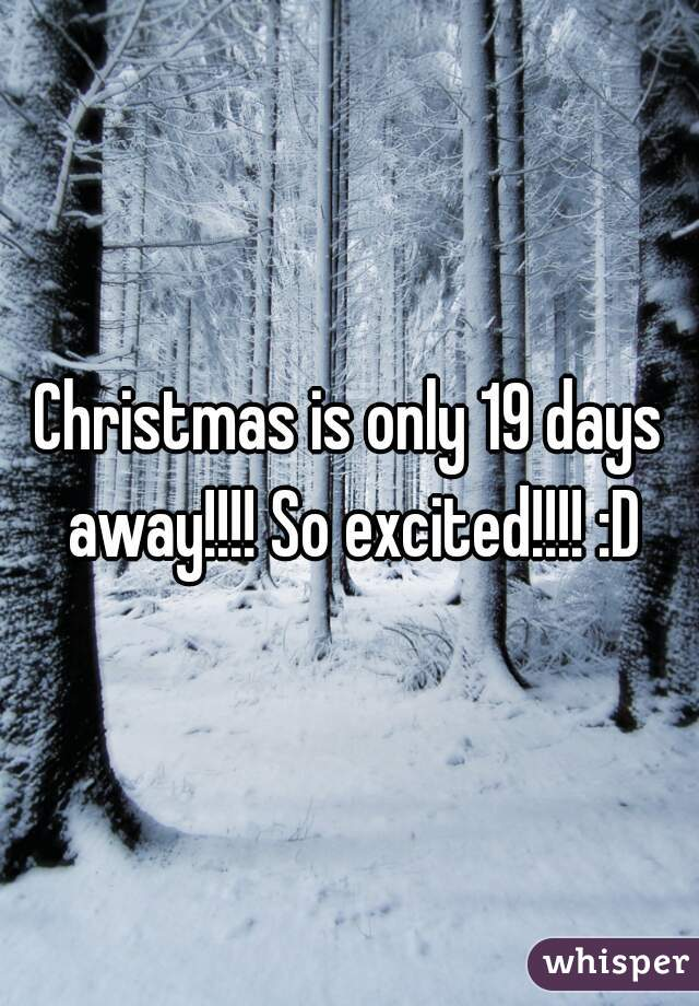 Christmas is only 19 days away!!!! So excited!!!! :D