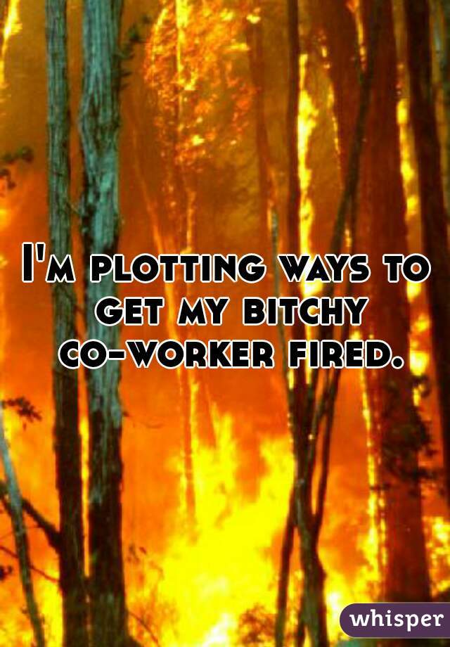 I'm plotting ways to get my bitchy co-worker fired.