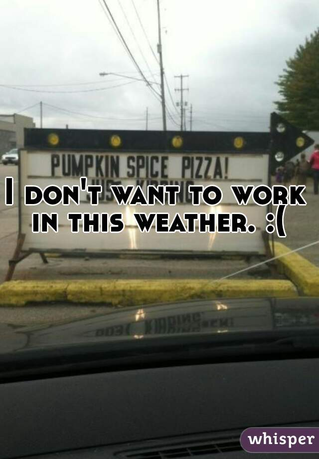I don't want to work in this weather. :(