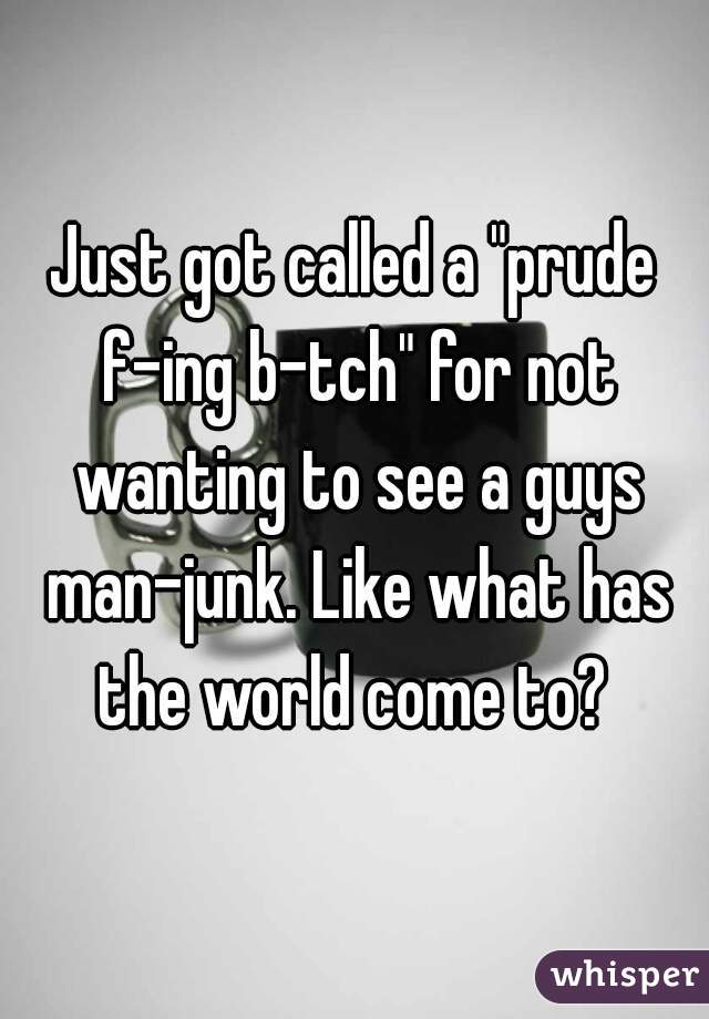 """Just got called a """"prude f-ing b-tch"""" for not wanting to see a guys man-junk. Like what has the world come to?"""
