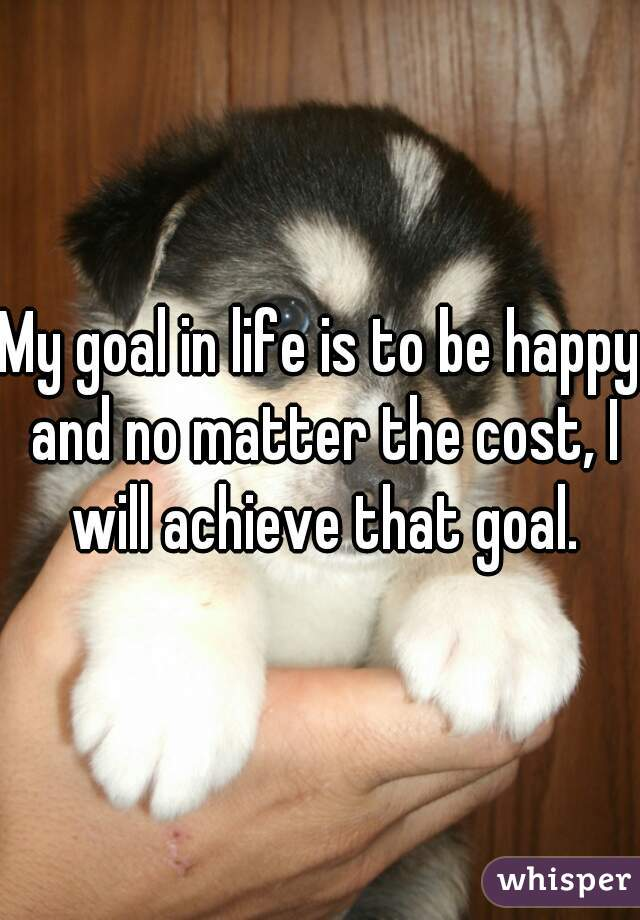 My goal in life is to be happy and no matter the cost, I will achieve that goal.