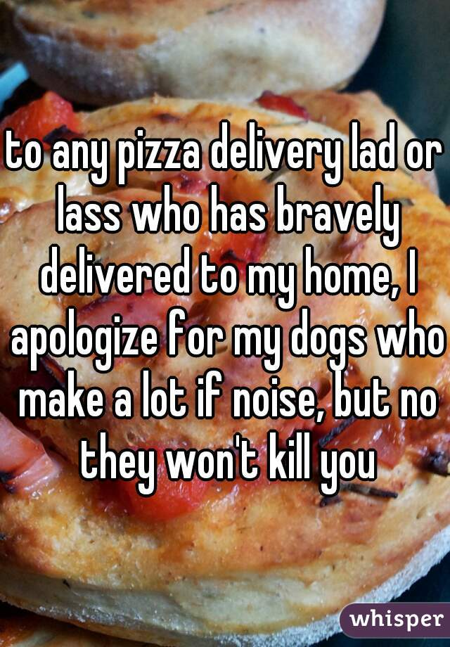 to any pizza delivery lad or lass who has bravely delivered to my home, I apologize for my dogs who make a lot if noise, but no they won't kill you