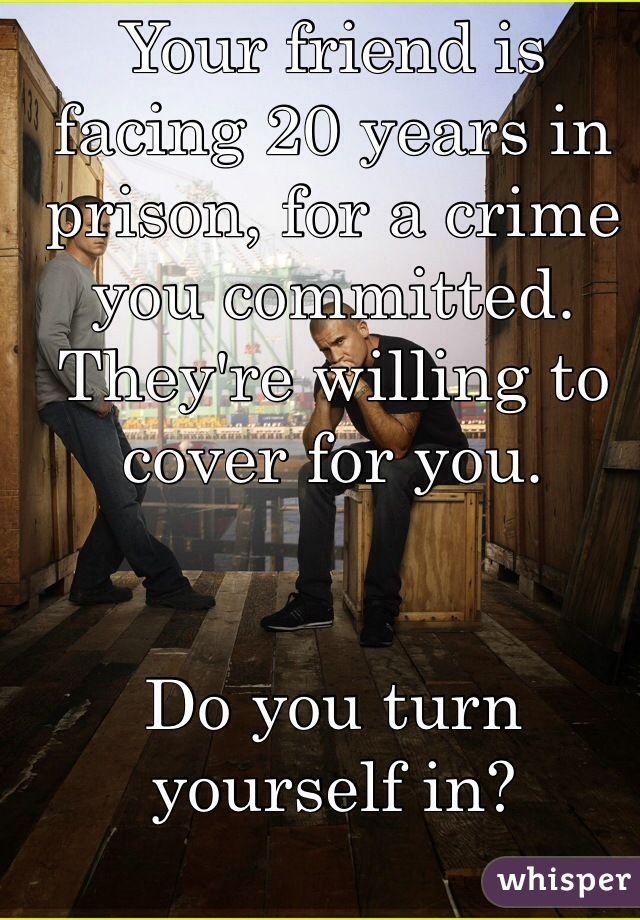 Your friend is facing 20 years in prison, for a crime you committed.  They're willing to cover for you.   Do you turn yourself in?