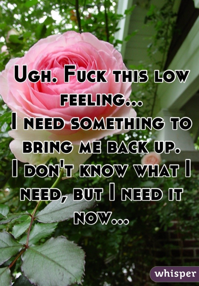 Ugh. Fuck this low feeling... I need something to bring me back up. I don't know what I need, but I need it now...