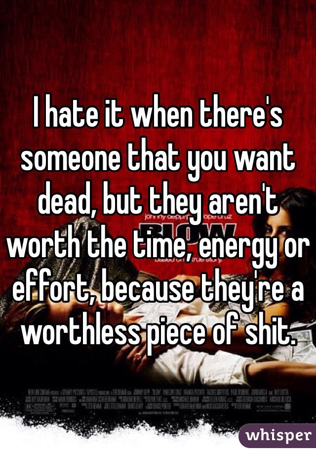 I hate it when there's someone that you want dead, but they aren't worth the time, energy or effort, because they're a worthless piece of shit.