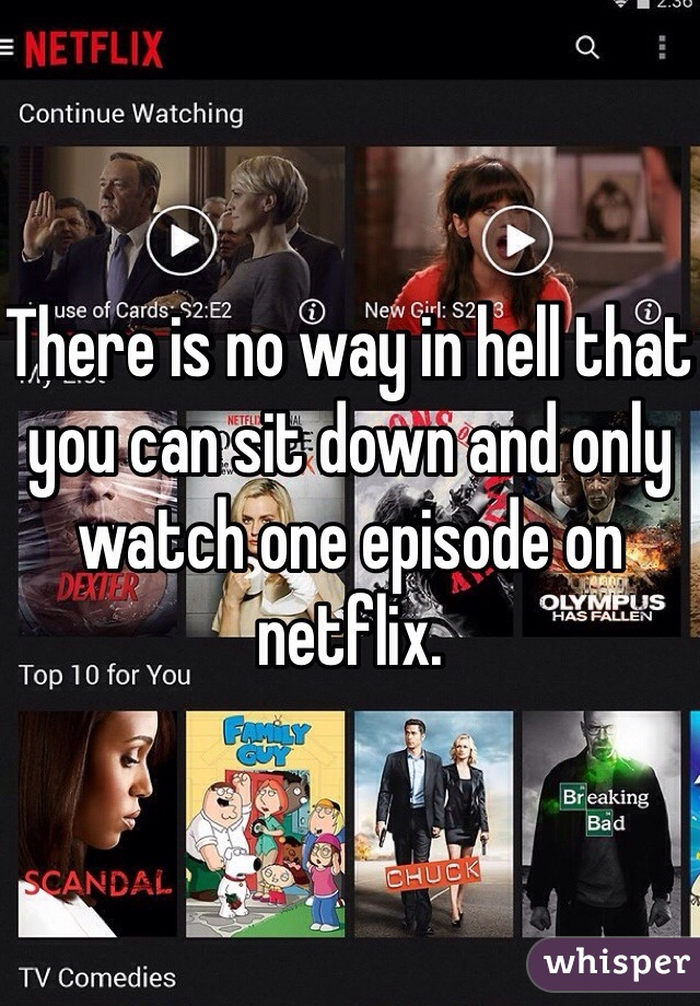 There is no way in hell that you can sit down and only watch one episode on netflix.