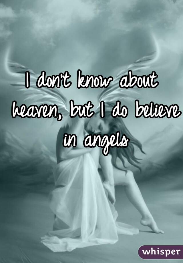 I don't know about heaven, but I do believe in angels