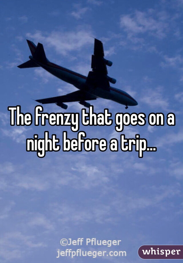 The frenzy that goes on a night before a trip...