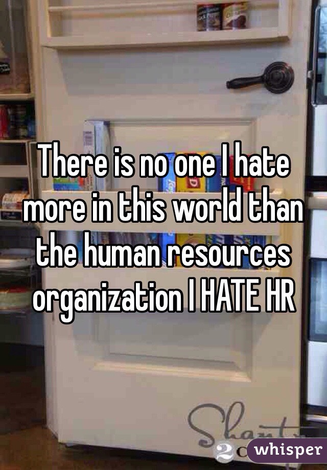 There is no one I hate more in this world than the human resources organization I HATE HR