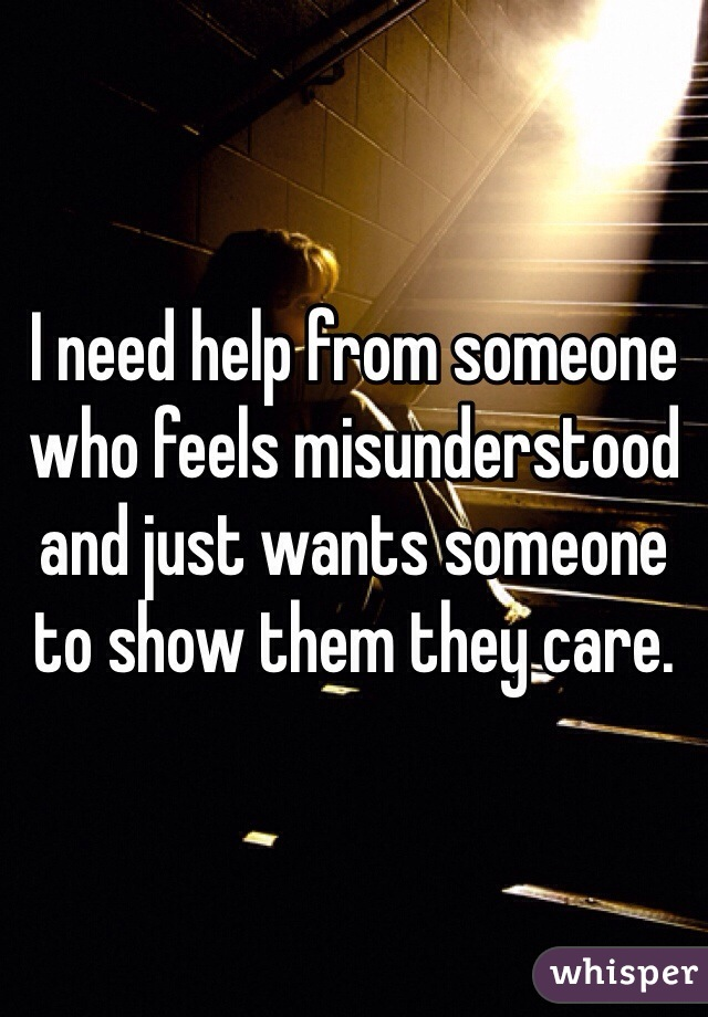 I need help from someone who feels misunderstood and just wants someone to show them they care.
