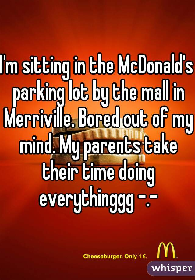 I'm sitting in the McDonald's parking lot by the mall in Merriville. Bored out of my mind. My parents take their time doing everythinggg -.-