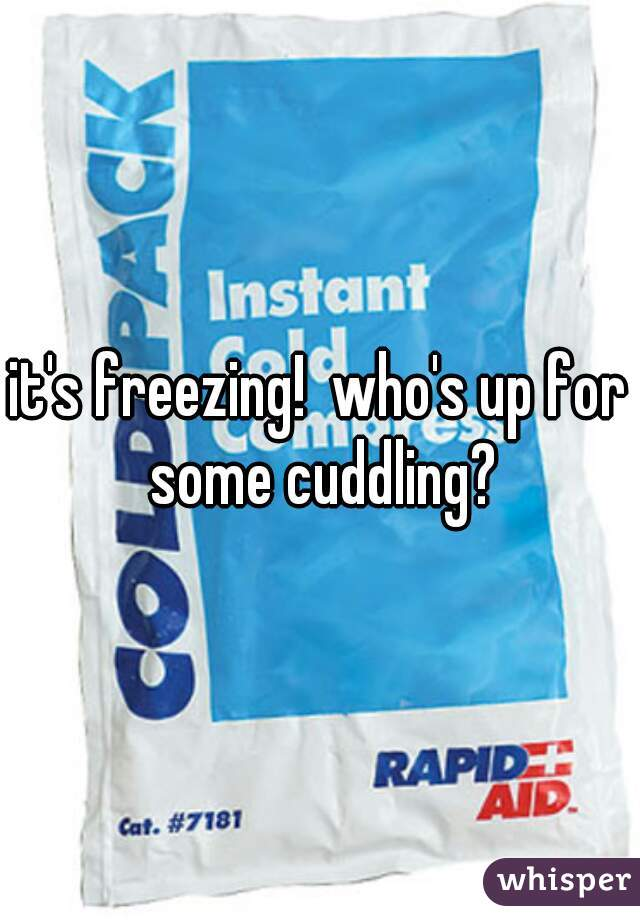 it's freezing!  who's up for some cuddling?