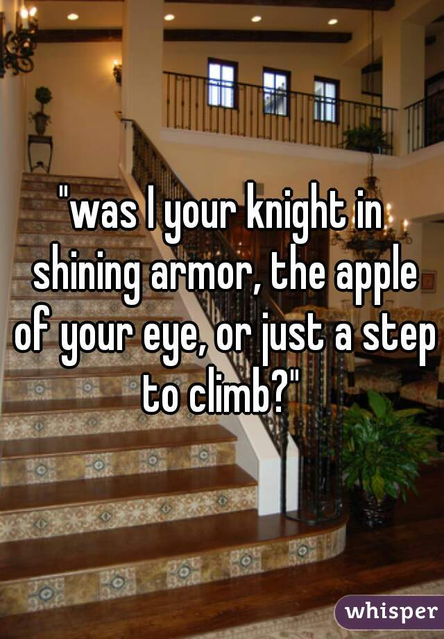 """""""was I your knight in shining armor, the apple of your eye, or just a step to climb?"""""""