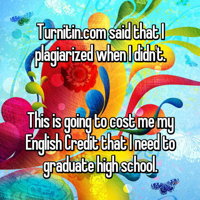 Turnitin.com said that I plagiarized when I didn't.   This is going to cost me my English Credit that I need to graduate high school.