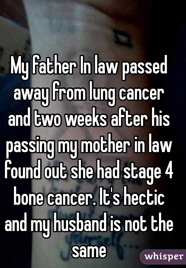 My father In law passed away from lung cancer and two weeks