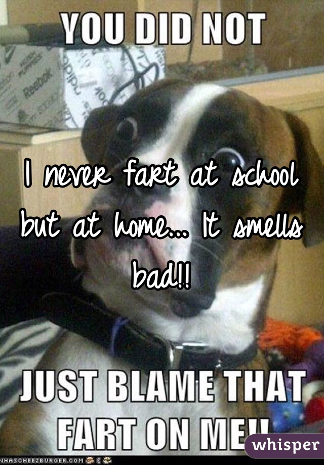 I never fart at school but at home... It smells bad!!
