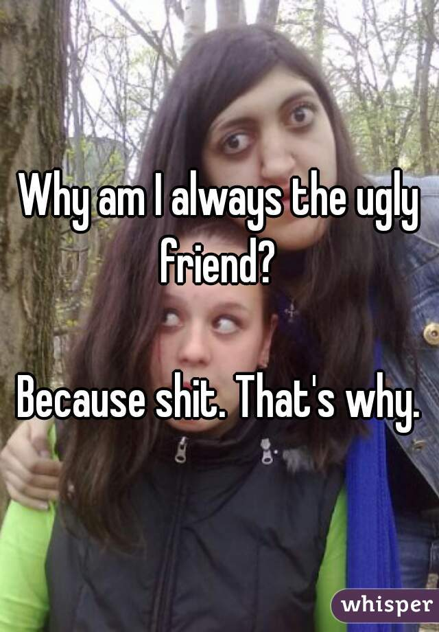 Why am I always the ugly friend?   Because shit. That's why.