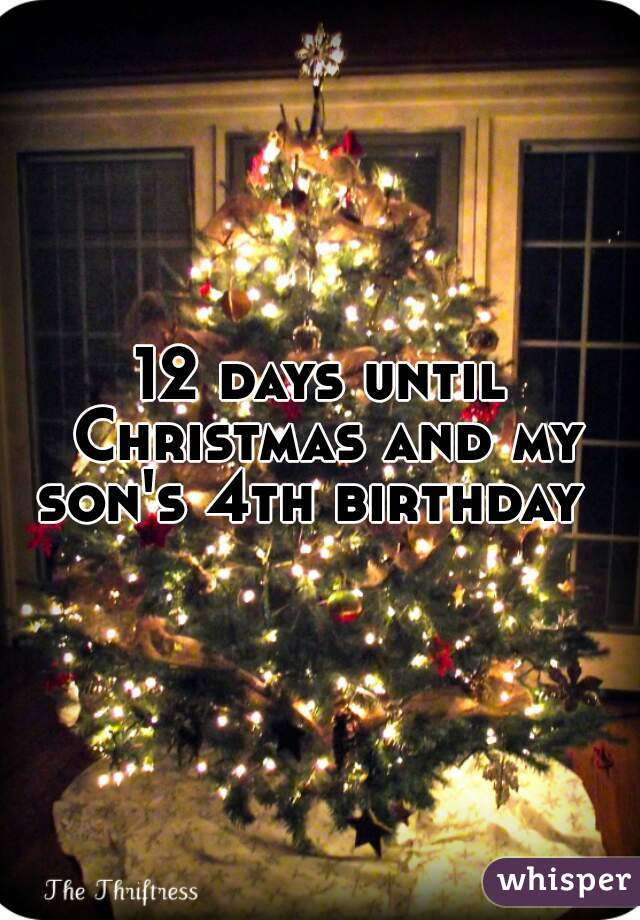 12 days until Christmas and my son's 4th birthday