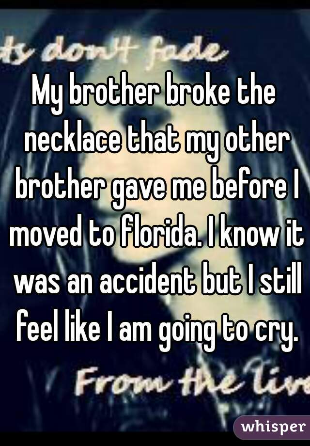 My brother broke the necklace that my other brother gave me before I moved to florida. I know it was an accident but I still feel like I am going to cry.