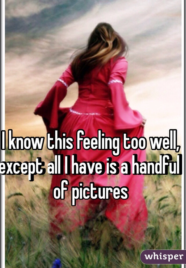 I know this feeling too well, except all I have is a handful of pictures