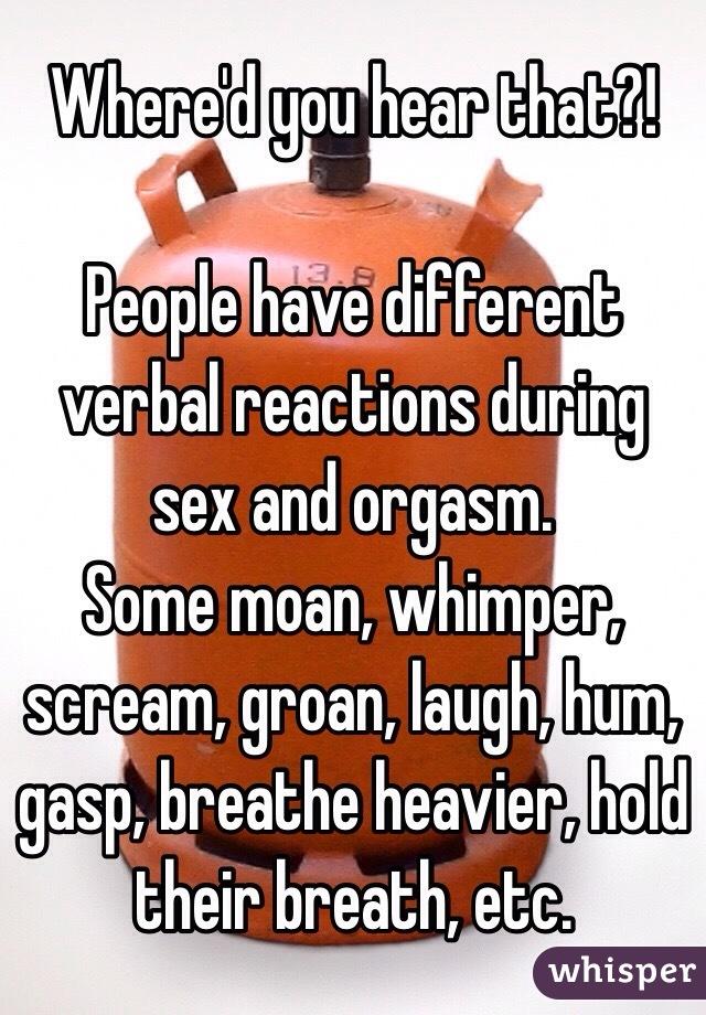 Verbal description of an orgasm