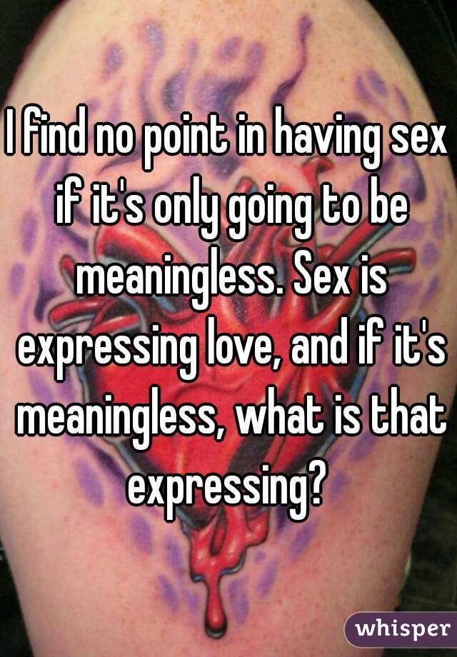 I find no point in having sex if it's only going to be meaningless. Sex is expressing love, and if it's meaningless, what is that expressing?