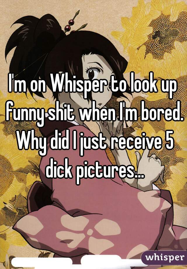 I'm on Whisper to look up funny shit when I'm bored. Why did I just receive 5 dick pictures...