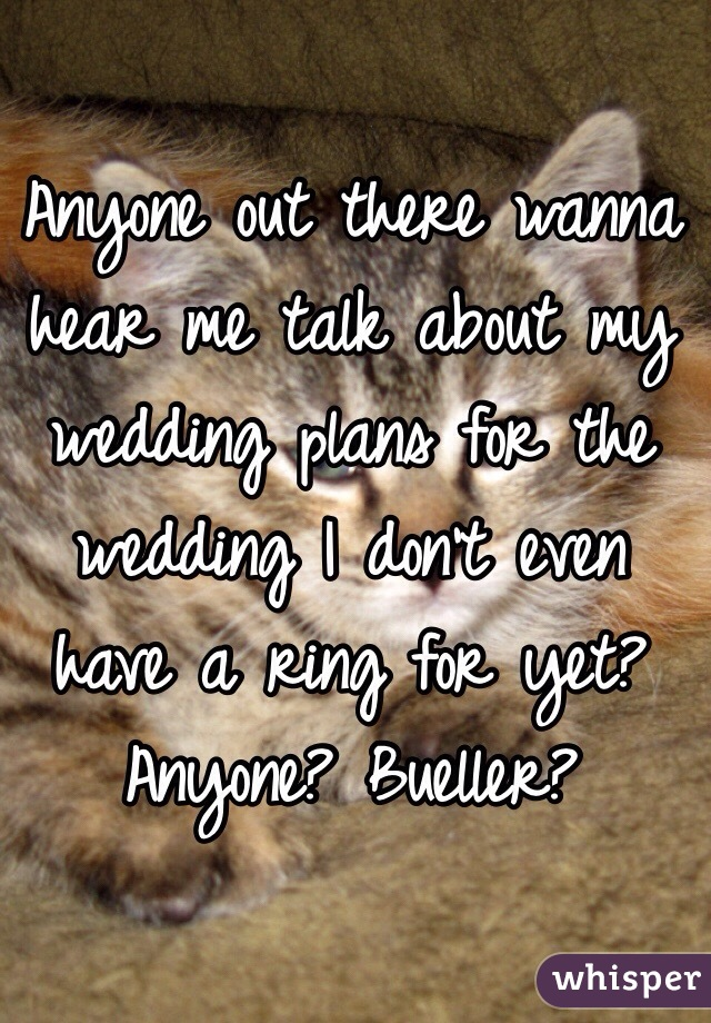 Anyone out there wanna hear me talk about my wedding plans for the wedding I don't even have a ring for yet? Anyone? Bueller?