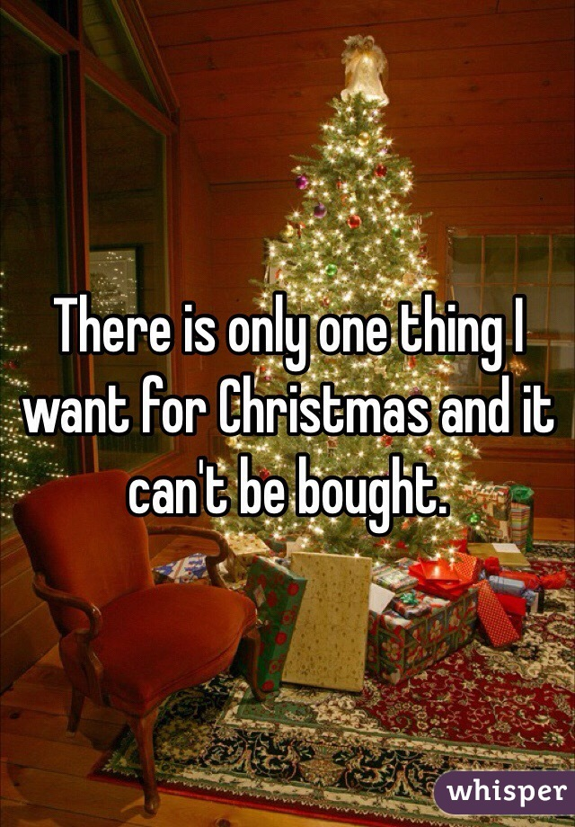 There is only one thing I want for Christmas and it can't be bought.