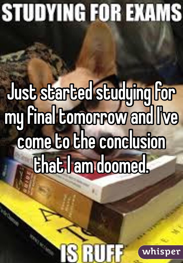 Just started studying for my final tomorrow and I've come to the conclusion that I am doomed.
