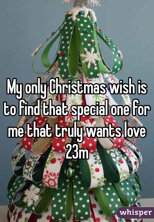 My only Christmas wish is to find that special one for me that truly wants love  23m