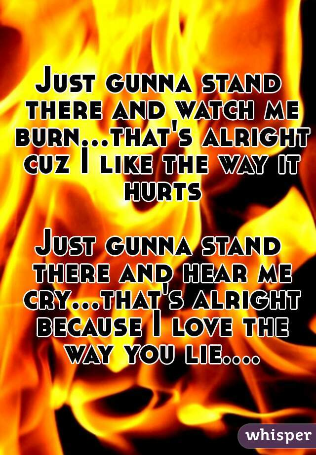 Just gunna stand there and watch me burn...that's alright cuz I like the way it hurts  Just gunna stand there and hear me cry...that's alright because I love the way you lie....