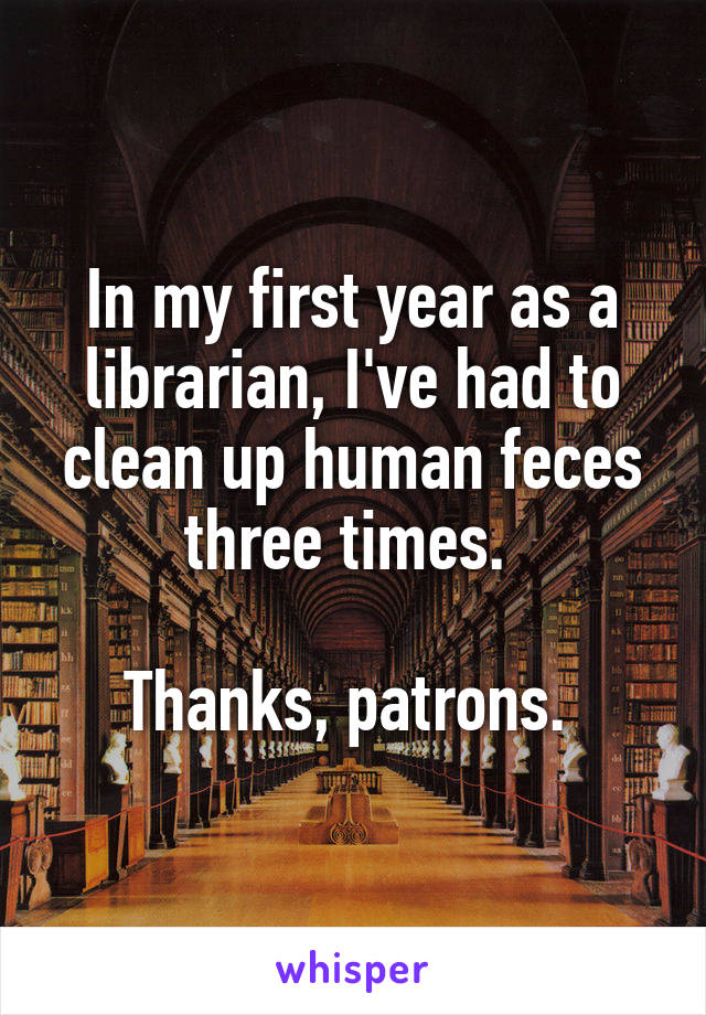 In my first year as a librarian, I've had to clean up human feces three times.   Thanks, patrons.