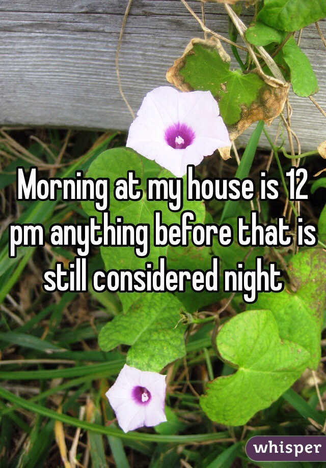 Morning at my house is 12 pm anything before that is still considered night