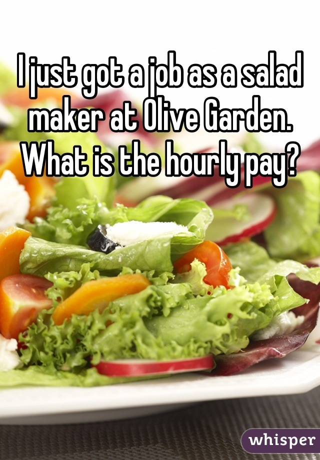 I just got a job as a salad maker at Olive Garden. What is the hourly