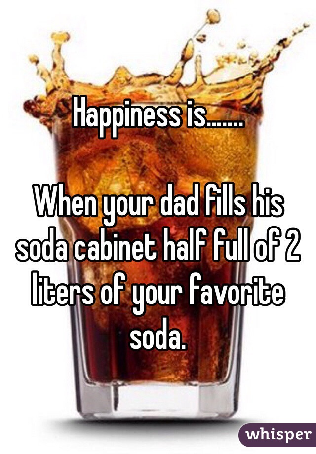 Happiness is.......  When your dad fills his soda cabinet half full of 2 liters of your favorite soda.