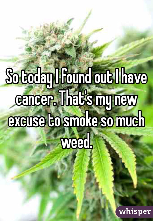 So today I found out I have cancer. That's my new excuse to smoke so much weed.