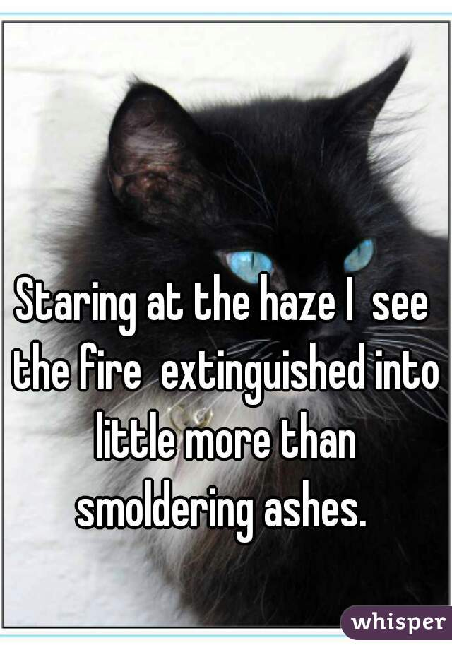 Staring at the haze I  see the fire  extinguished into little more than smoldering ashes.