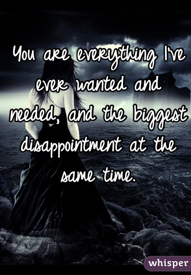 You are everything I've ever wanted and needed, and the biggest disappointment at the same time.