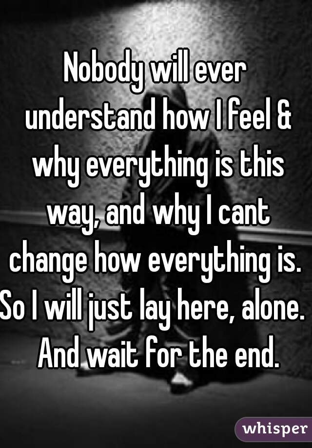 Nobody will ever understand how I feel & why everything is this way, and why I cant change how everything is.  So I will just lay here, alone.  And wait for the end.