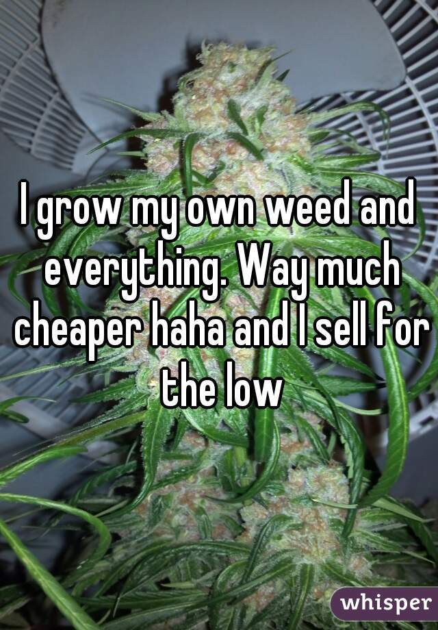 I grow my own weed and everything. Way much cheaper haha and I sell for the low