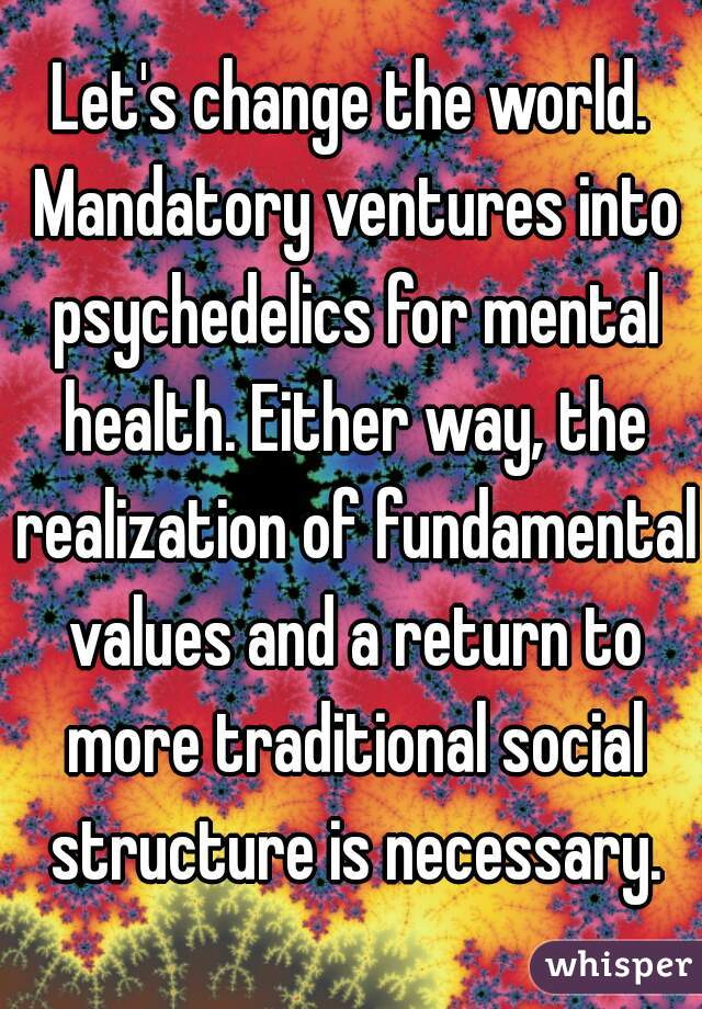 Let's change the world. Mandatory ventures into psychedelics for mental health. Either way, the realization of fundamental values and a return to more traditional social structure is necessary.